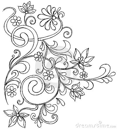 Sketchy Doodle Ornate Scroll Vector