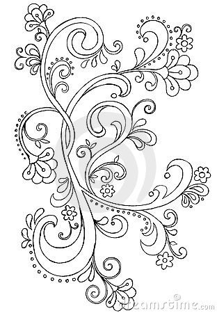 Sketchy Doodle Ornate Scroll Vector