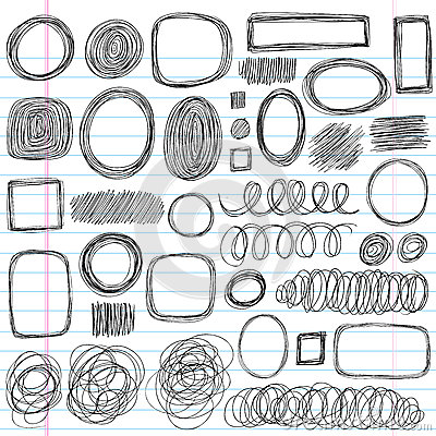 Sketchy Doodle Scribble Shapes Vector Design Set