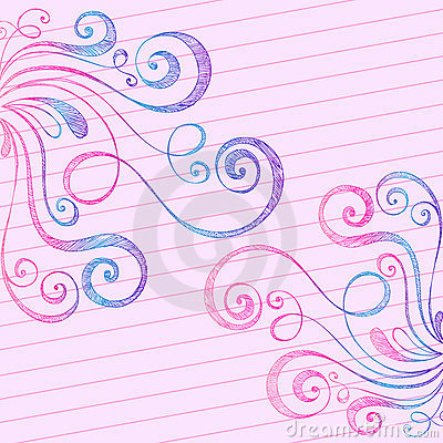 Sketchy Doodle Swirls on Notebook Paper