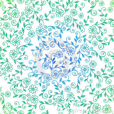 Sketchy Doodle Vines Seamless Repeat Pattern