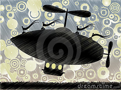 Sketchy fantasy airship lifts blue yellow circle