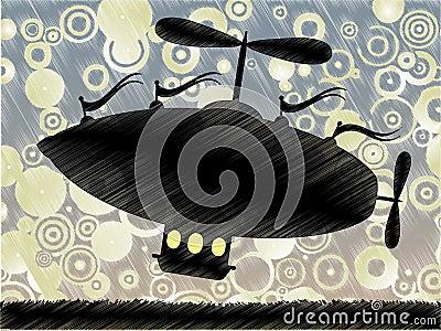 Sketchy fantasy airship lifts blue yellow circle