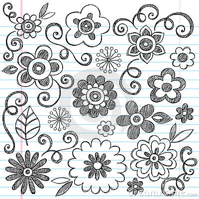Sketchy Flowers Notebook Doodles Vector Set