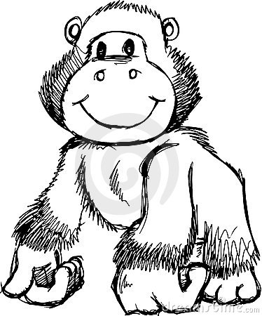 Sketchy Gorilla Vector Illustration