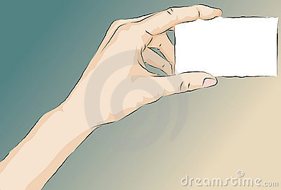 Sketchy illustrated hand holding card