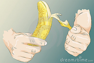 Sketchy illustrated hands peeling a banana