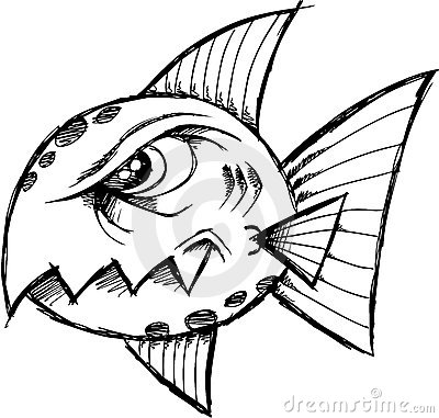 Sketchy Mean fish Vector