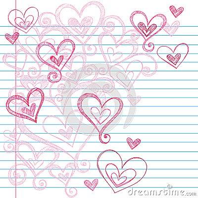 Sketchy Notebook Doodle Hearts