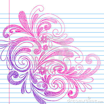 Sketchy Notebook Doodles on Lined Paper Vector