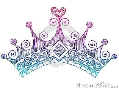Sketchy Princess Tiara Crown Notebook Doodles