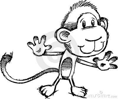 Sketchy Safari Monkey Vector