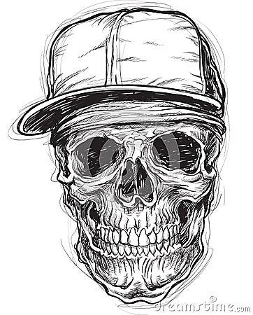 Sketchy Skull With Cap And Bandana Royalty Free Stock