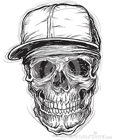 Free Sketchy Skull With Cap And Bandana Royalty Free Stock Images - 35108439
