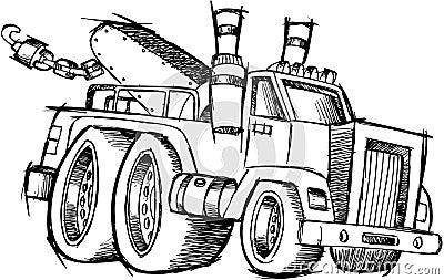 Sketchy Tow Truck Vector