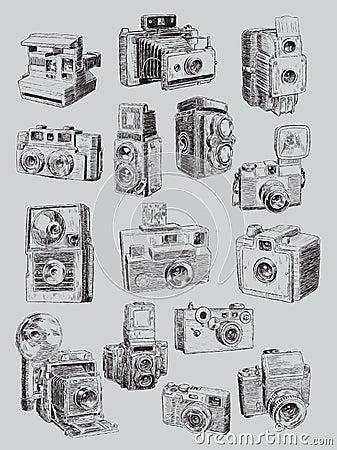 Free Sketchy Vintage Camera Set Stock Photography - 37440772