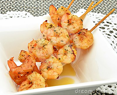 Skewer shrimp