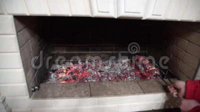 Skewers grilled on the outdoor barbecue fireplace stock video