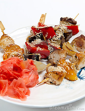 Skewers on a plate