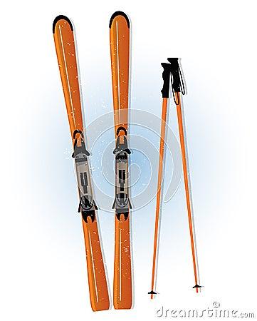 Free Ski And Ski Sticks Vector Royalty Free Stock Image - 28527156