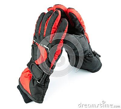 Ski black-and-red gloves