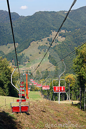 Ski chair lift for ski trace