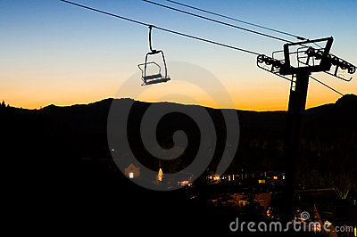Ski Chairlift at Sunset