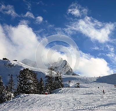 Ski in de bovenkant van Alpen