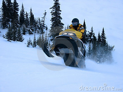 Ski-Doo taking Jump Stock Photo