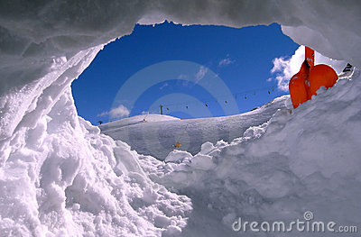 Ski field from the snow hole
