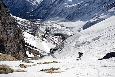 Ski freeride in high mountains