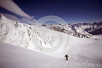 Ski freeride in high mountains