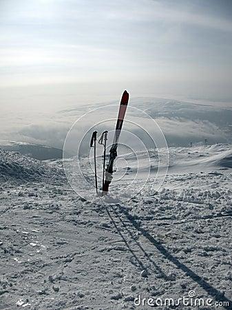Ski gear in snow