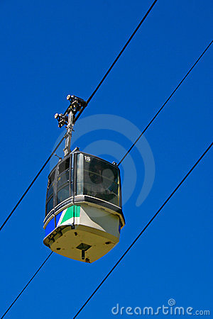 Ski Gondola with blue sky