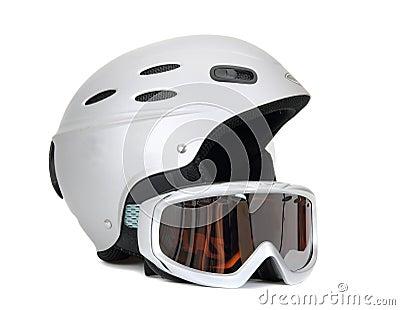 Ski helmet and ski goggles