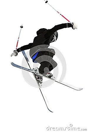 Ski jumper in black and white