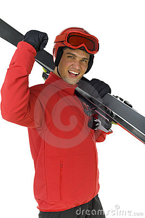 Free Ski Jumper With His Skis Royalty Free Stock Images - 3671439