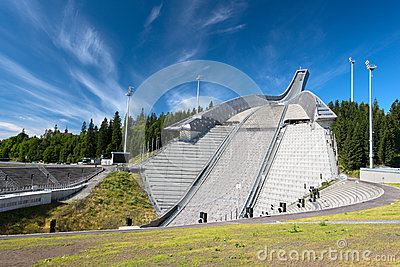 Ski jumping arena in Oslo Norway
