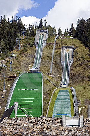 Ski jumping slopes.