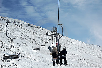On ski lift