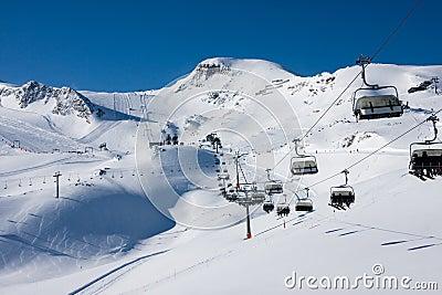 Ski lift in alps mountains