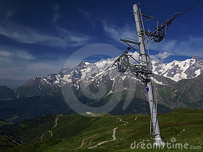 Ski lift with mont blanc