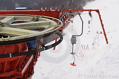 Ski lift - return wheel detail