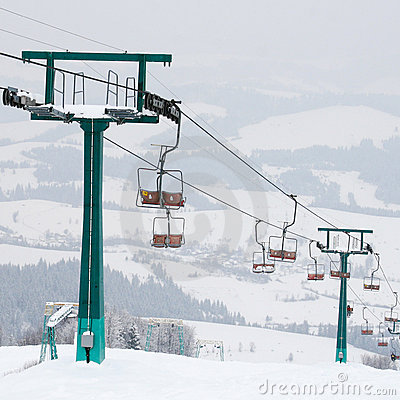 Ski lift and skiing slope