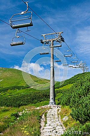 Ski lift in summer