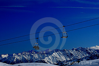 Ski lifts in alps mountains