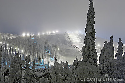 Ski resort at the evening