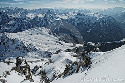 Ski resort in the snow covered Dolomiti mountains