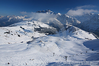 Ski resort in the Swiss Alps
