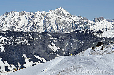 Ski resort Zell am See, Austrian Alps at winter
